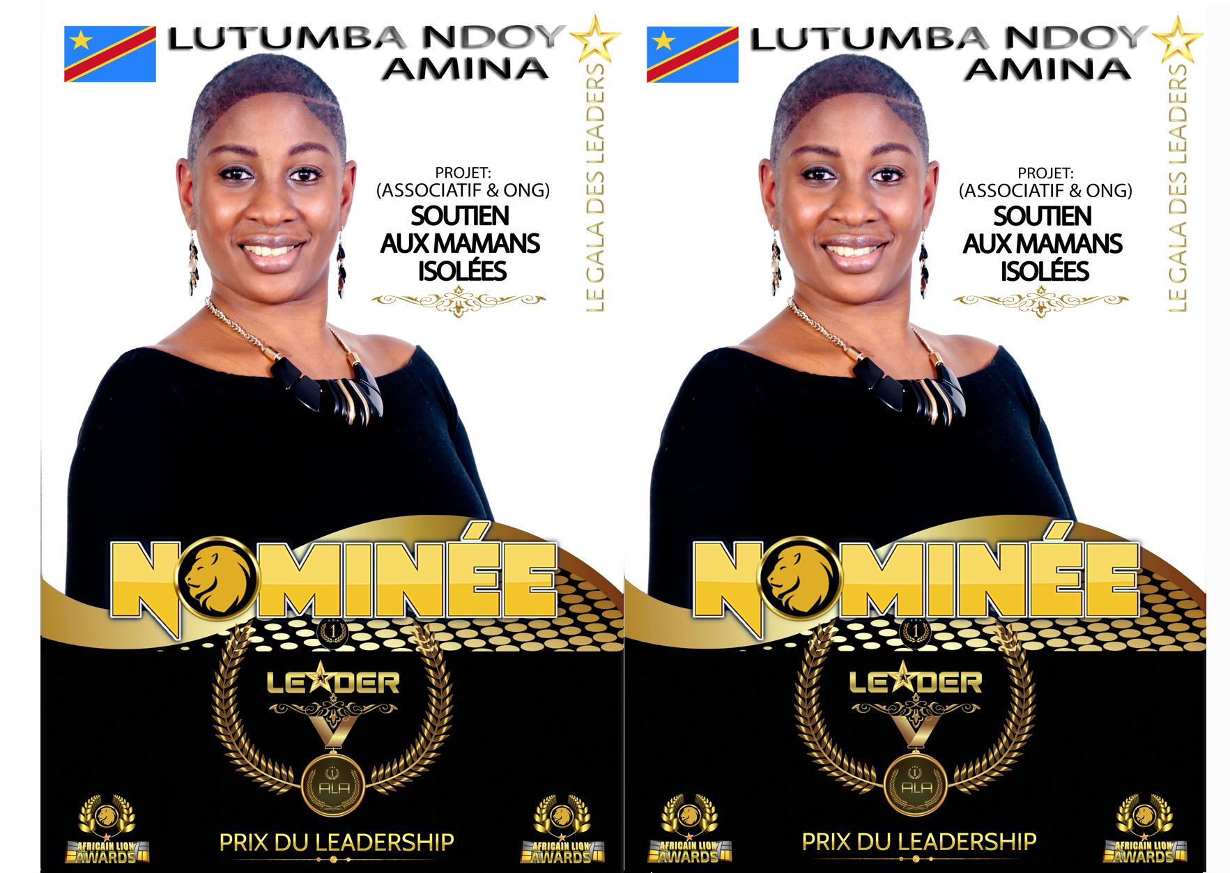#ALA2019 | Nominée : Amina LUTUMBA NDOY | Projet : Soutien aux mamans isolées | Prix du leadership | Catégorie : Associatif et ONG