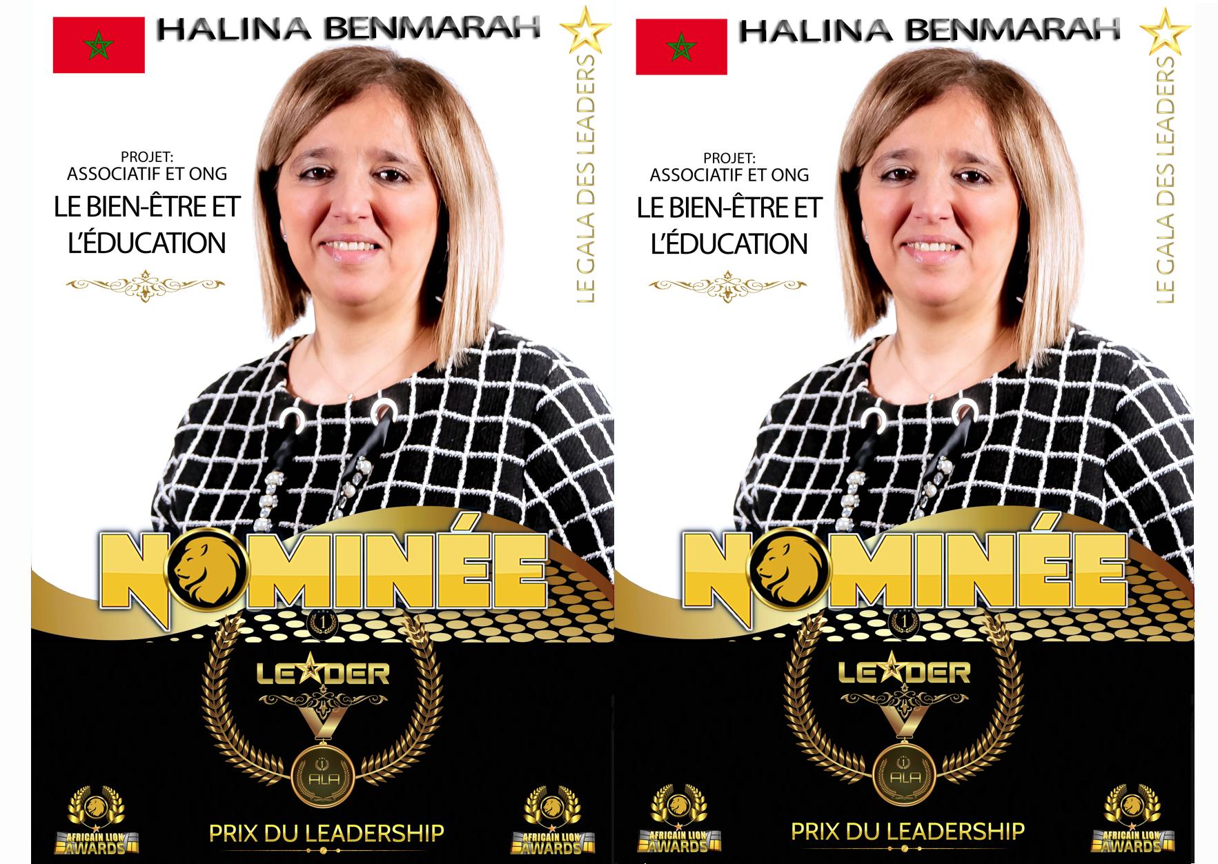 #ALA2019 | Nominée : Halina BENMRAH | Projet: Le Bien-être et l'Éducation | Prix du leadership | Catégorie : Associatif & ONG