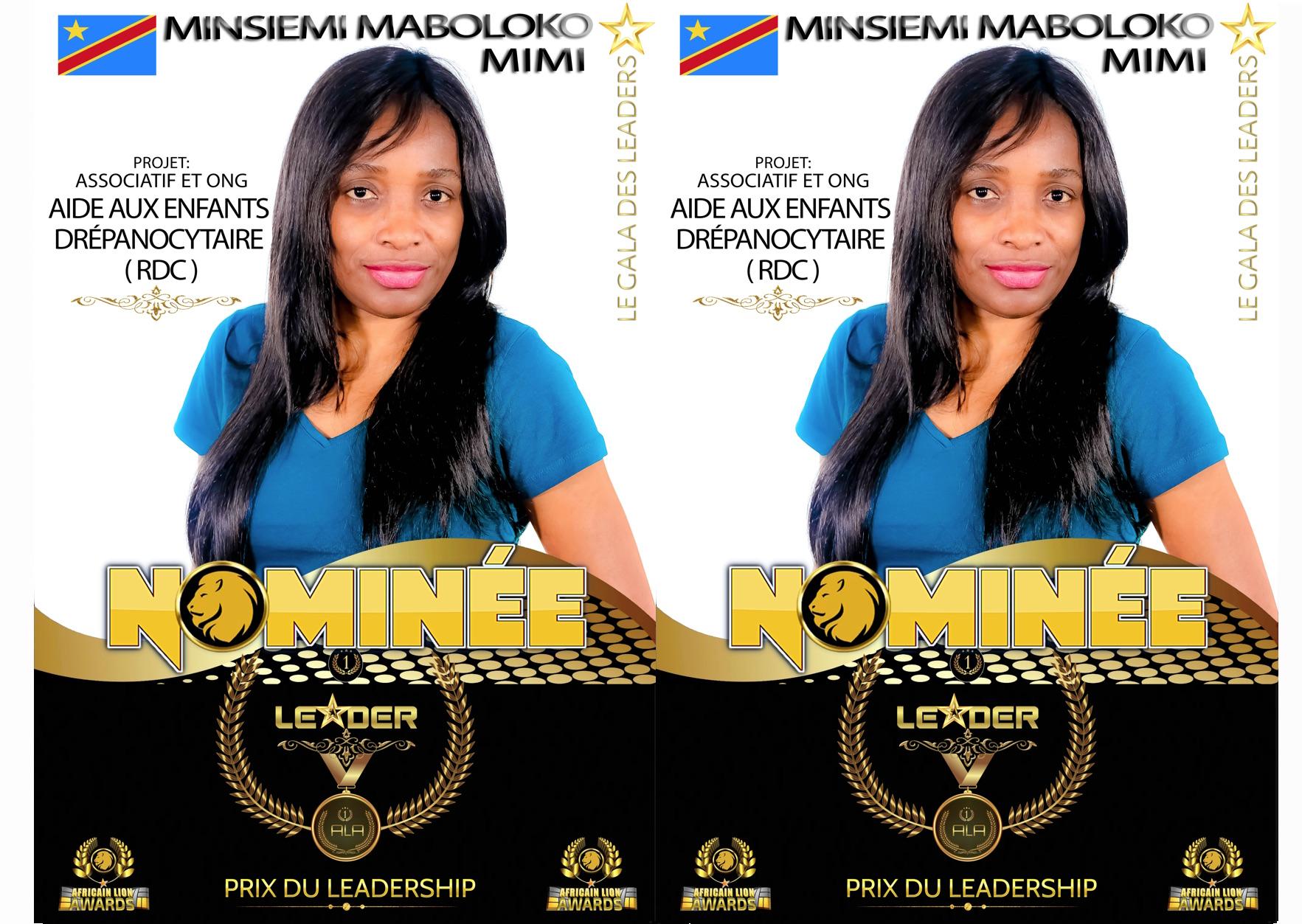 #ALA2019 | Nominée : Mimi MINSIEMI MABOLOKO | Projet : Aide aux enfants Drépanocytaires (RDC) | Prix du leadership | Catégorie : Associatif & ONG
