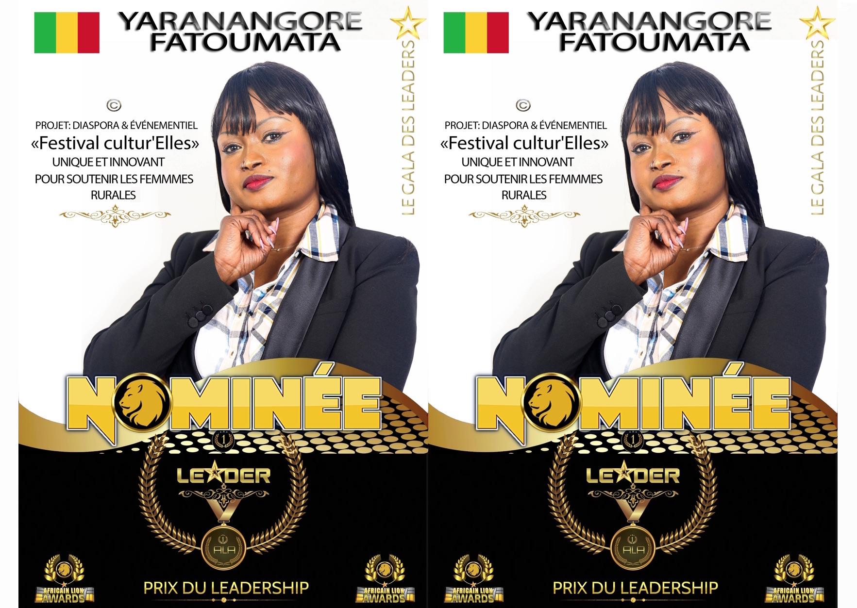 #ALA2019   Nominée : Fatoumata YARANANGORE   Projet: Festival Cultur'Elles   Prix du leadership   Catégorie : DIASPORA & ÉVÉNEMENTIEL