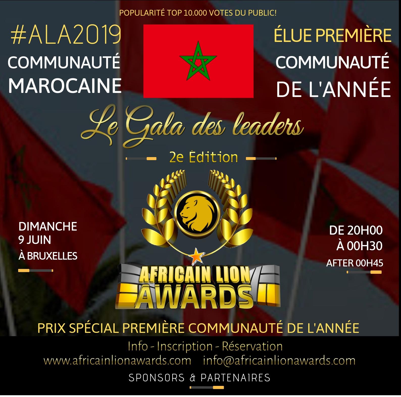 LA COMMUNAUTÉ MAROCAINE, PREMIER PODUIM D'HONNEUR D'ALA2019 : TOP 10.000 VOTES DU PUBLIC